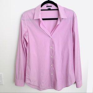 Theory Classic Button Down Purple Stripe Shirt EUC